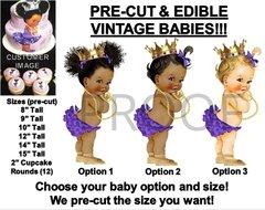 PRE-CUT Purple Ruffle Pants Princess Baby EDIBLE Cake Topper Image Rhinestones