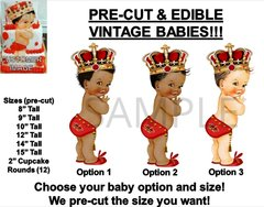 PRE-CUT Red Gold Little Prince Studded Crown Baby EDIBLE Cake Topper Image Crown
