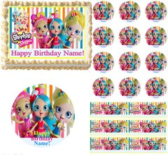 Cute SHOPKINS SHOPPIES Up Close Edible Cake Topper Image Frosting Sheet