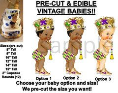 PRE-CUT Mardi Gras Diaper Little Prince EDIBLE Cake Topper Image Cupcakes Prince