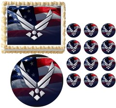 United States Military AIR FORCE Edible Cake Topper Image Frosting Sheet