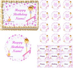 Tumbling GYMNASTICS Girls Edible Cake Topper Image Frosting Sheet