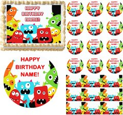Cute Red LITTLE MONSTERS Edible Cake Topper Image Frosting Sheet