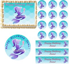 Mermaid Under the Sea Edible Cake Topper Image Frosting Sheet Decoration
