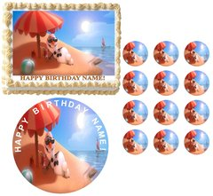 FROZEN OLAF on Beach Edible Cake Topper Image Frosting Sheet