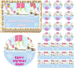 Girl ICE SKATING Ice Skates Party Edible Cake Topper Image Frosting Sheet