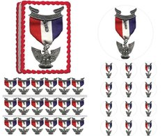 Eagle Scout Court of Honor Ceremony Emblem Ribbon Edible Cake Topper Image Frosting Sheet