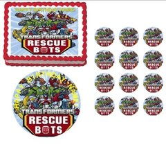 TRANSFORMERS RESCUE BOTS Edible Cake Topper Frosting Sheet Image