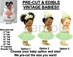 PRE-CUT Green Leaf Tulle Party Dress Girl EDIBLE Cake Topper Image Ballet Shoes