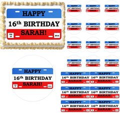 LICENSE PLATE 16th Birthday Teen Edible Cake Topper Image Frosting Sheet