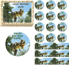 T Rex Dinosaur in the Jungle EDIBLE Cake Topper Image Frosting Sheet Cupcakes Jurassic World