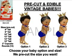 PRE-CUT Little Prince Royal Blue Bow Tie EDIBLE Cake Topper Image Prince Shoes