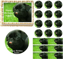 Pug Dog Edible Cake Topper Image Frosting Sheet Cake Decoration Cupcakes