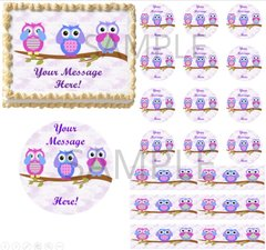 Owls on Tree Branch EDIBLE Cake Topper Image See Hear Speak No Evil Cake Owl
