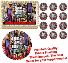 GRAND THEFT AUTO V GTA 5 Edible Cake Topper Image Frosting Sheet