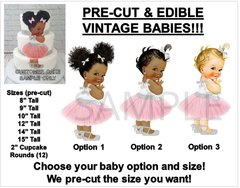 PRE-CUT Pink and Silver Tulle Party Dress Baby Girl EDIBLE Cake Topper Image Tulle Ballerina