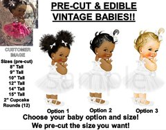 PRE-CUT White Tulle Party Dress Baby Girl EDIBLE Cake Topper Image Ribbon Shoe