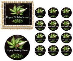 Weed Pot Leaf EDIBLE Cake Topper Image Frosting Sheet Cupcakes Stoner Cake Image
