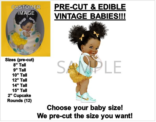 PRE-CUT Afro Puffs Baby Wearing Mint Green Sneakers EDIBLE Cake Topper Image