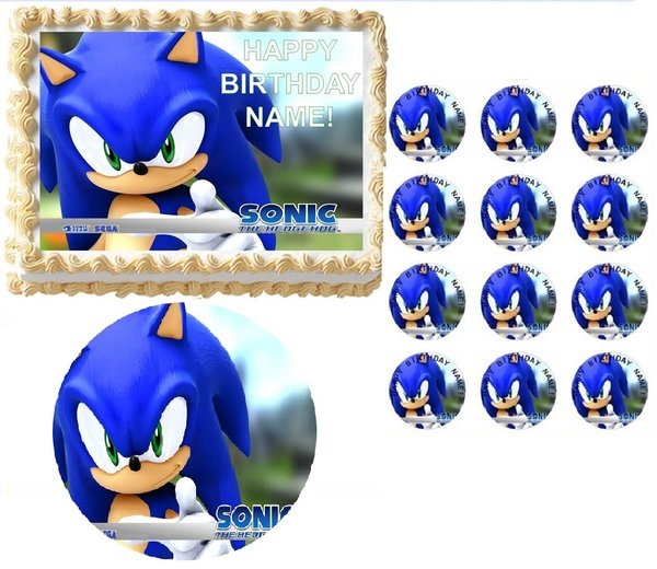 SONIC the HEDGEHOG Face Edible Cake Topper Image Frosting ...