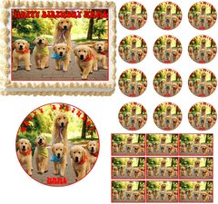 GOLDEN RETRIEVER Dog Puppy Family Edible Cake Topper Image Frosting Sheet