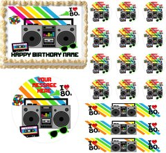 Awesome 80's RETRO THEME 80's Party Edible Cake Topper Image Frosting Sheet