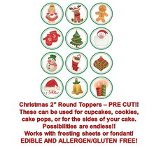 CHRISTMAS Santa, Snowman, Gingerbread Man Edible Cupcake Cookie Toppers!