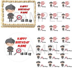 Detective Boy Sherlock Edible Cake Topper Image Cupcakes Cake Strips Mystery
