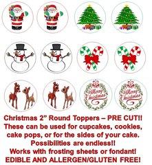 CHRISTMAS Santa, Snowman, Rudolph Edible Cupcake Cookie Toppers!