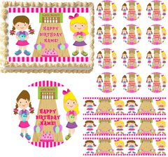 Girls Bowling Party Theme Edible Cake Topper Image Frosting Sheet