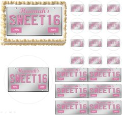 Sweet 16 License Plate Teen Edible Cake Topper Image Frosting Sheet Cupcakes