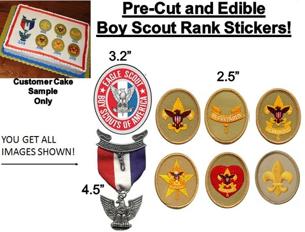 PRE-CUT Boy Scout Eagle Scout Ranks EDIBLE Cake Stickers Court of Honor Cake