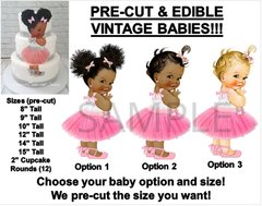 PRE-CUT Pink Tulle Party Dress Baby Ballerina EDIBLE Cake Topper Image Pink Ballet Tulle