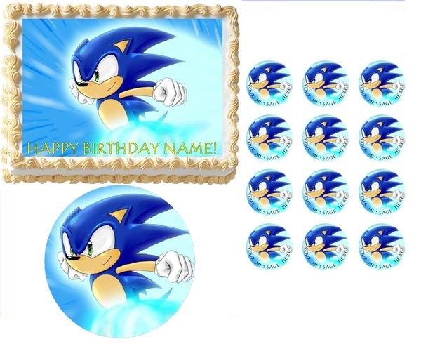 Sonic The Hedgehog Running Edible Cake Topper Image