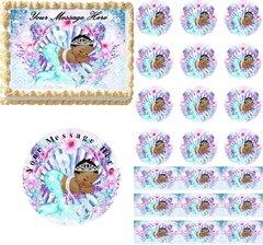 Teal Purple Dark Skin Mermaid Baby Edible Cake Topper Image, Baby Shower Cake