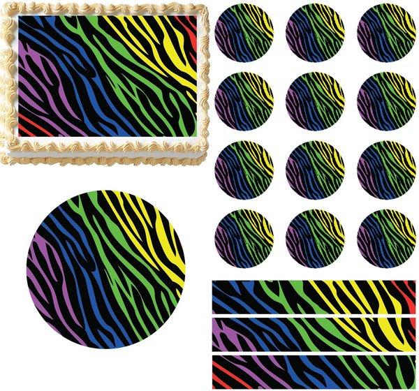 Rainbow zebra print edible cake topper image cake for Animal print edible cake decoration