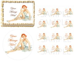 Sexy Vintage Pin Up Women Housewife EDIBLE Cake Topper Image Cupcakes