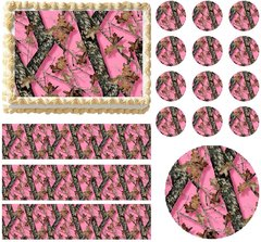 PINK MOSSY OAK Tree Print Edible Cake Topper Image Frosting Sheet