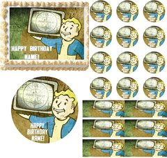 FALLOUT 4 Please Stand By Edible Cake Topper Image Cupcakes Cookies Topper Cake