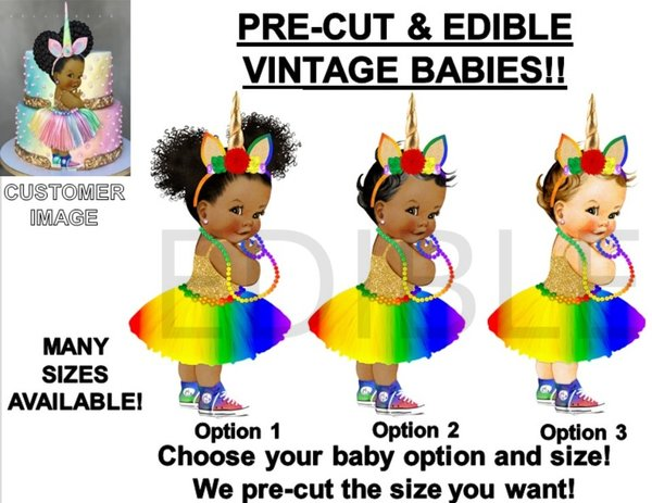 PRE-CUT Bright Rainbow Primary Colors Unicorn Tutu Sneakers Baby EDIBLE Image