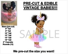 PRE-CUT Pastel Rainbow Unicorn Princess Afro Puffs EDIBLE Cake Topper Image