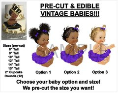PRE-CUT Purple Ballerina Sitting Vintage Baby Girl EDIBLE Cake Topper Image Baby