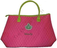 Quilted AKA Ivy Pink and Green Bag - Medium