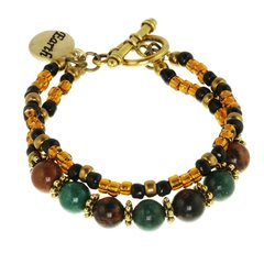 Earth Element Double Strand Toggle Bracelet
