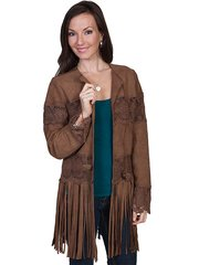 Scully Leather Lamb Suede Coat W/Long Fringe