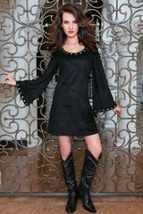 Union Of Angels Black Andrea Faux Suede Dress-SALE
