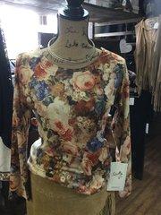 Panhandle ladies floral L/S knit top