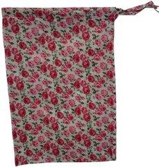 Cotton Poplin Flower Print Drawstring Bag with matching drawstring. Size 25cm x 35cm PINK