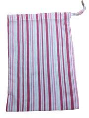 Pink Candy Stripe Drawstring Bag. Size 25cm x 35cm. PINK CANDY STRIPED