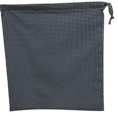 Cotton-Poplin Drawstring Bag in Navy Small Gingham Check. Size 25cm x 35cm. NAVY
